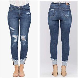 Judy Blue Mid Rise Cuffed Distressed Skinny Jeans